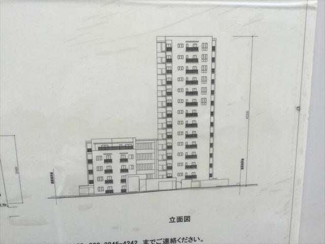 「グランドメゾン天王寺上之宮町」建物側面図、拡大