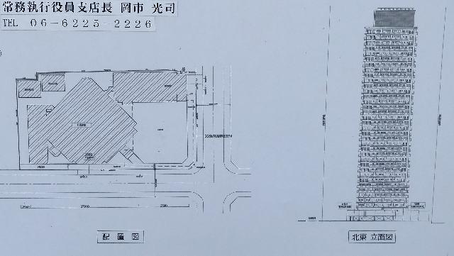 「グランドメゾン上町台レジデンスタワー」配置図と立面図