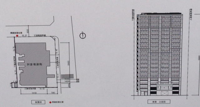 「グランドメゾン上本町THE CLASS」配置図・立面図
