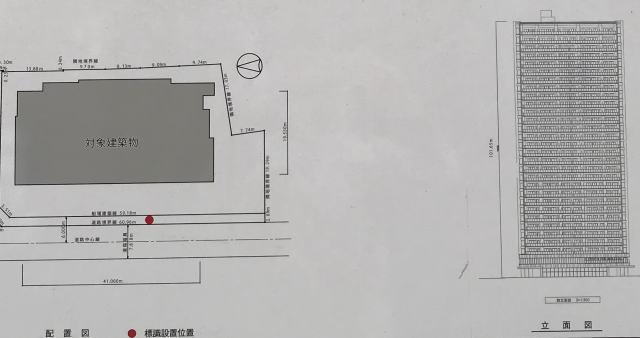 「ローレルタワー御堂筋本町」配置図・立面図