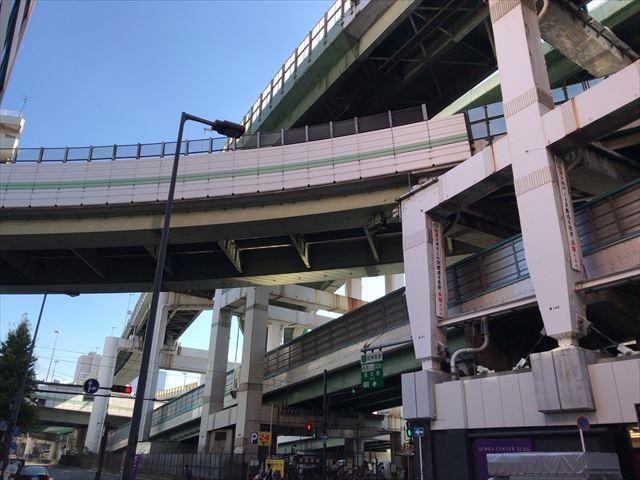 堺筋本町の中央大通り、阪神高速道路東船場ジャンクション
