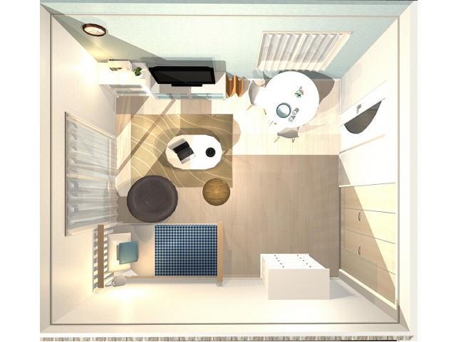 部屋のベッドと家具の配置
