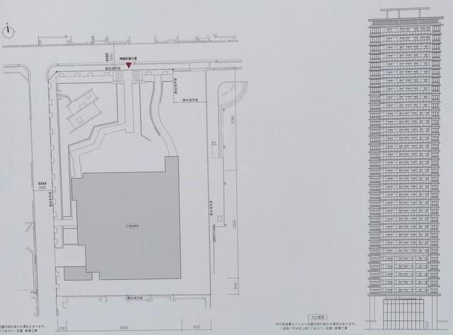 「(仮称)中央区上町1丁目タワー計画新築工事」配置図と北側立面図