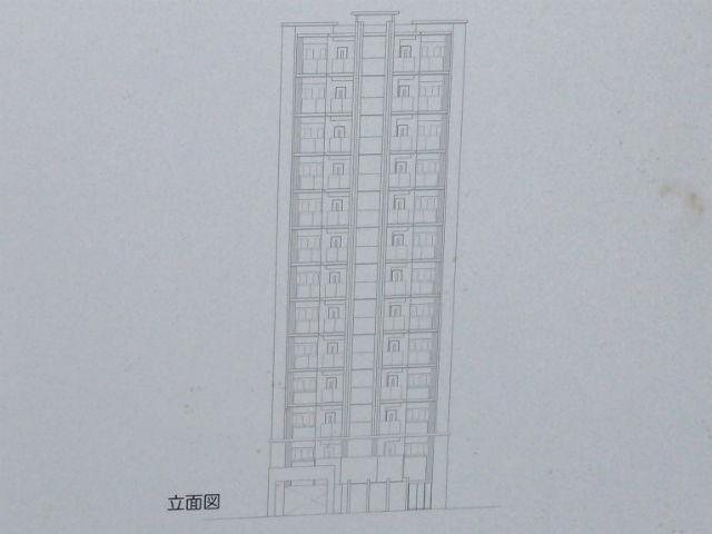 「(仮称)夕陽丘五条公園前プロジェクト」マンション立面図