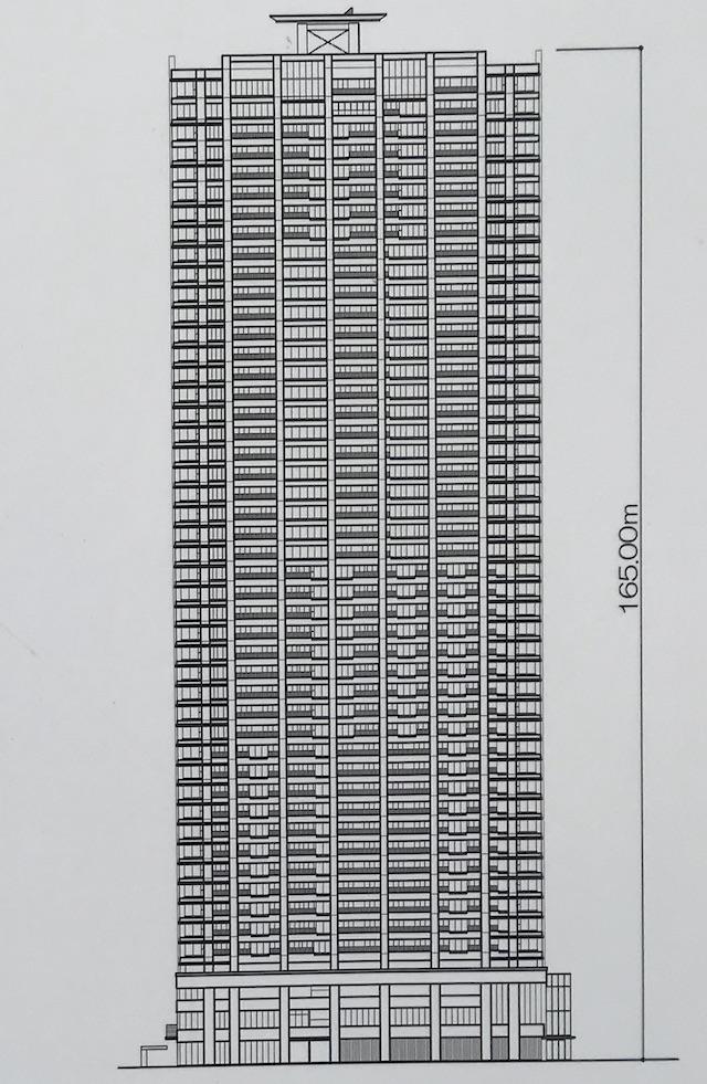 マンション「シティタワー大阪本町」立面図