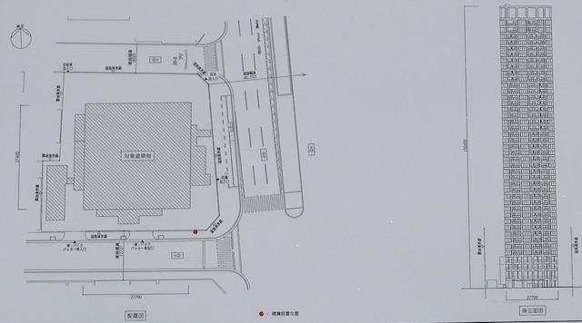 新築タワーマンション「(仮称)大阪市中央区谷町2丁目PRJ」配置図と立面図