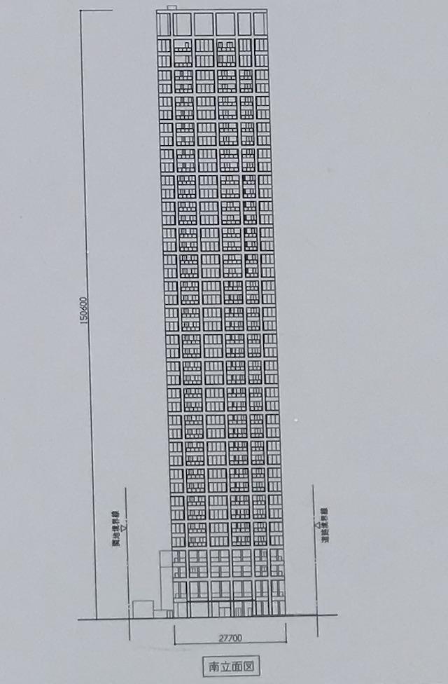 新築分譲マンション「(仮称)大阪市中央区谷町2丁目PRJ」立面図