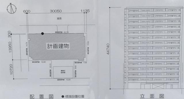 「ローレルコート上本町七丁目(北館・南館)」配置図と立面図