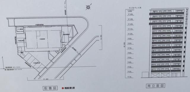 「プレイズ天王寺」立面図と配置図