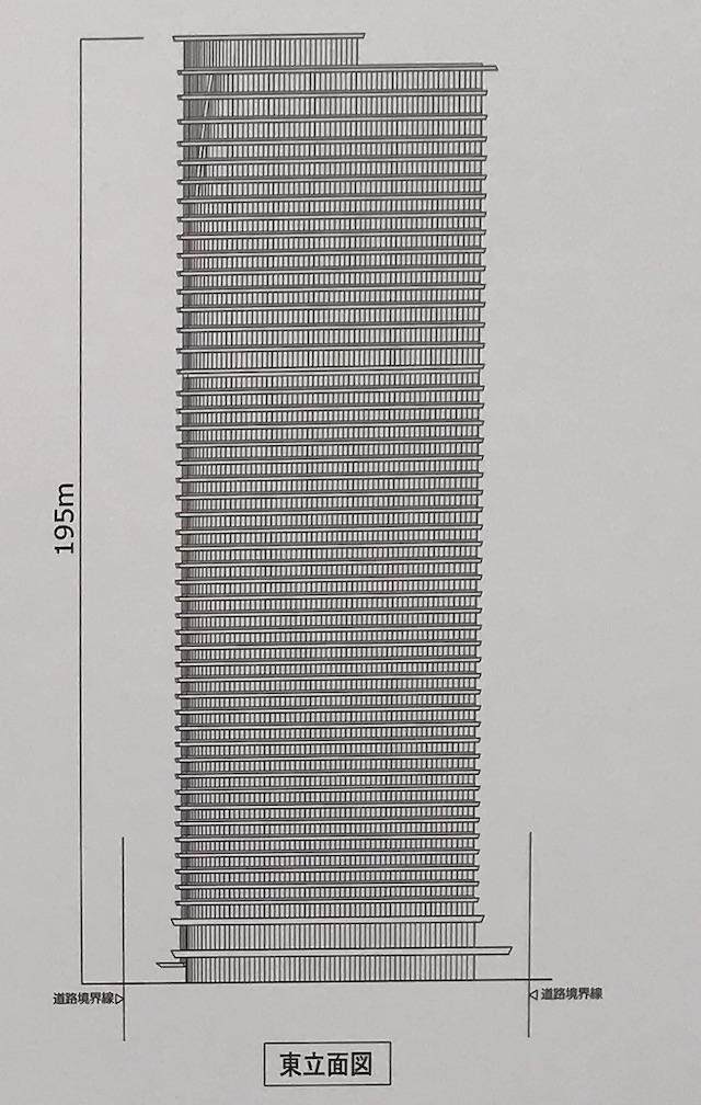 「(仮称)堂島2丁目計画」東立面図