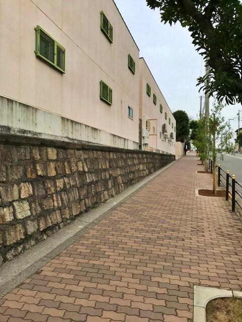 明星学園中学校・高等学校西側の道路