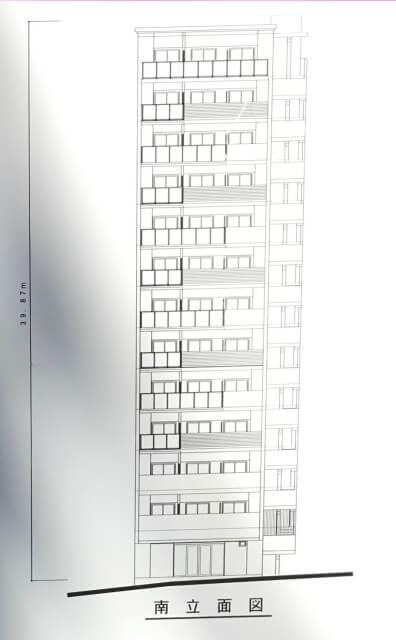 「(仮称)プレサンス中央区高津1新築工事」南立面図