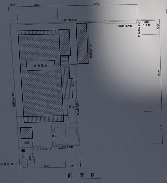 「(仮称)プレサンス中央区高津1新築工事」配置図