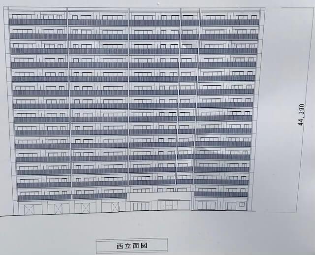 「プレサンスロジェ都島レジデンス」西立面図