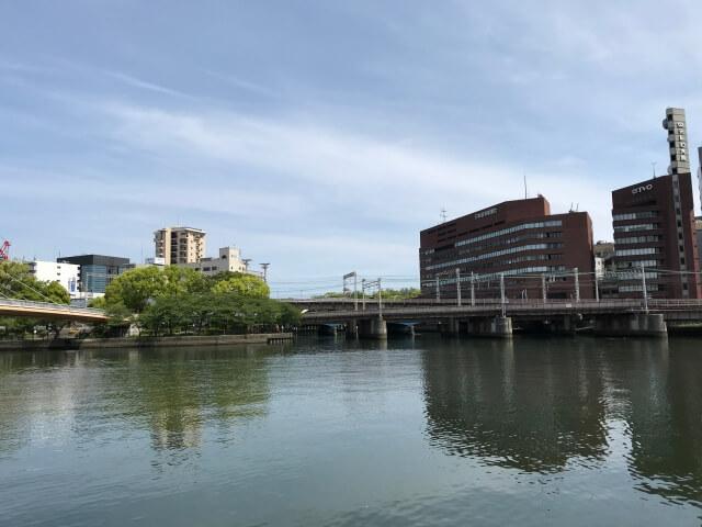 天満橋大川北側沿いを撮影