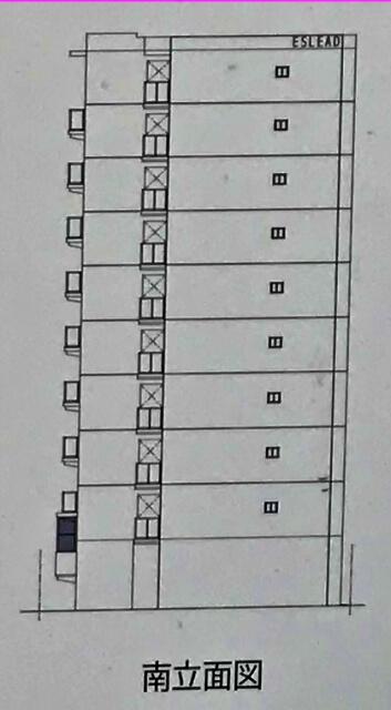 エスリード「(仮称)中央区森ノ宮中央1丁目新築工事」南立面図