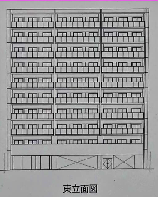 エスリード「(仮称)中央区森ノ宮中央1丁目新築工事」東立面図
