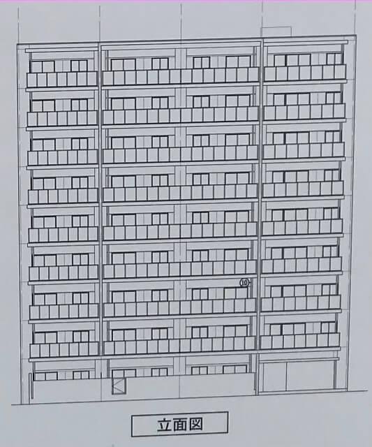 プレミスト「(仮称)東成区中道3丁目マンション新築工事」立面図