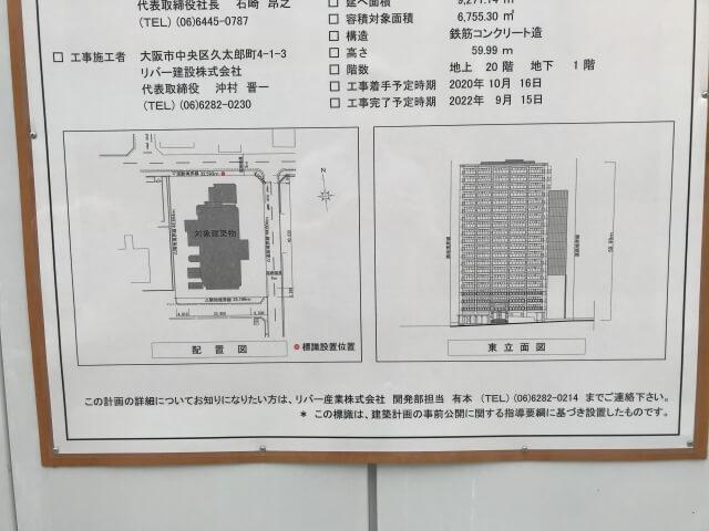 「リバーガーデン(仮称)上町一丁目計画」配置図と立面図