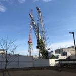 「リバーガーデン(仮称)上町一丁目計画」2020年12月26日工事進行状況(北西側)