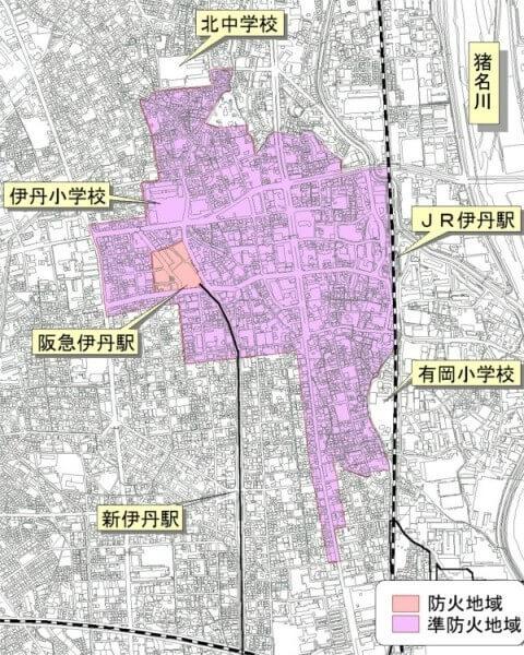 伊丹市の防火・準防火地域図