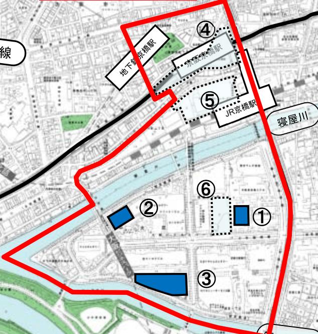 大阪京橋駅周辺の都市再生緊急整備地域マップ