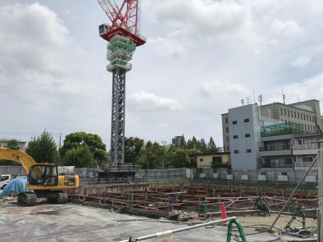 「グランドメゾン上町一丁目タワー」2020年9月基礎工事の様子