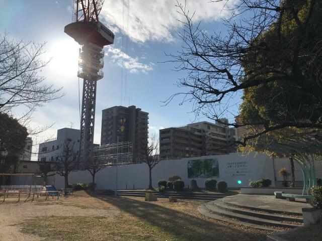 「グランドメゾン上町一丁目タワー」2020年12月26日工事進行状況(東側)