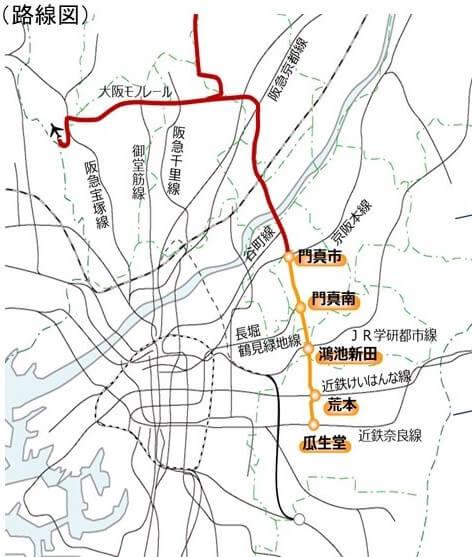 大阪モノレール延伸路線図
