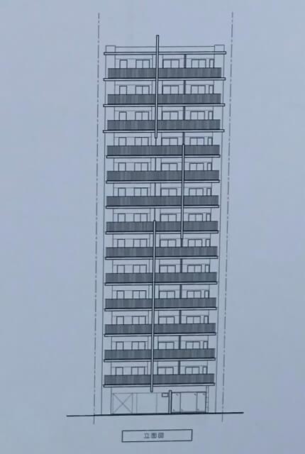 東急不動産(ブランズ)「(仮称)大阪市西区京町堀2丁目計画」立面図