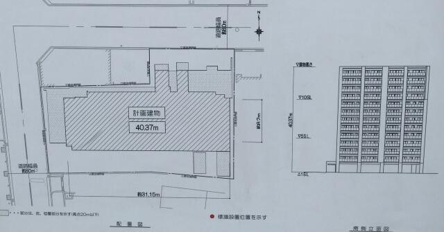 「レジェイド上本町」の立面図と配置図