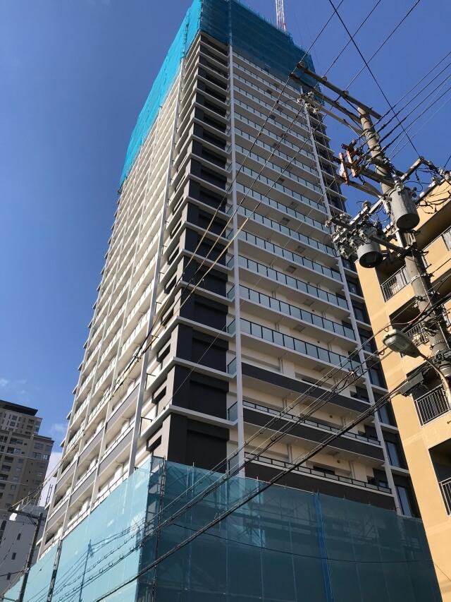 「シエリア大阪上町台パークタワー」2020年12月26日工事進行状況(南西側)