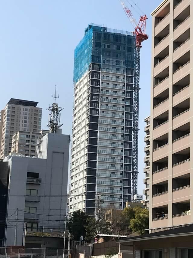 「シエリア大阪上町台パークタワー」2021年2月工事進行状況(南東)