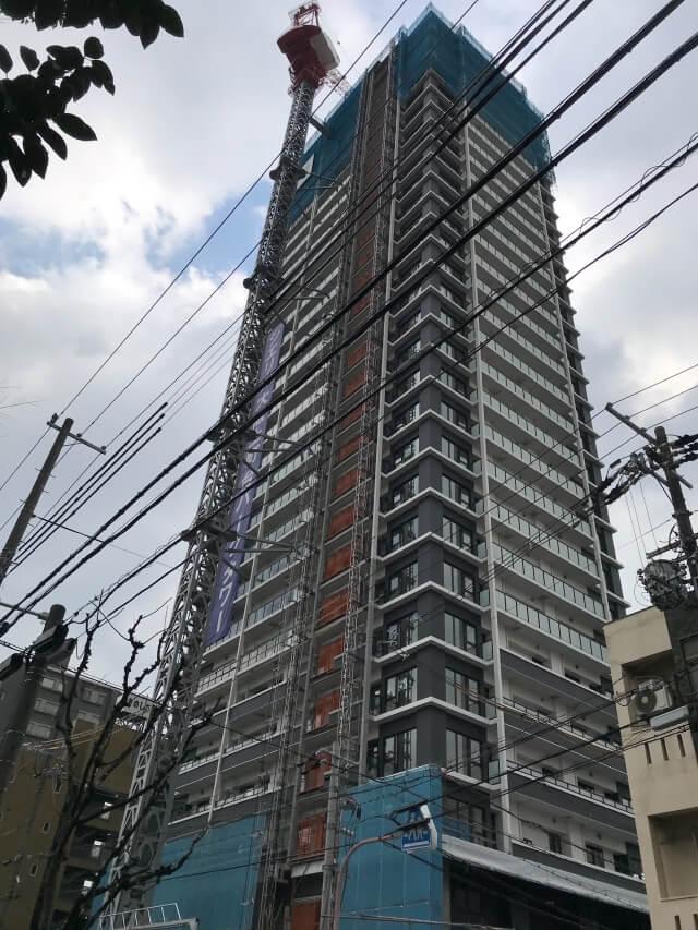 「シエリア大阪上町台パークタワー」2021年2月工事進行状況(南西)